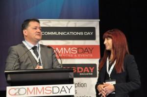 Shara Evans + Tony Warren (Telstra Group Executive, Corporate Affairs) CommsDay 2014