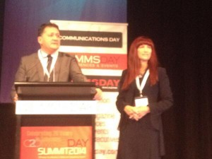 Shara Evans + Tony Warren (Telstra Goup Executive, Corporate Affairs) CommsDay 2014