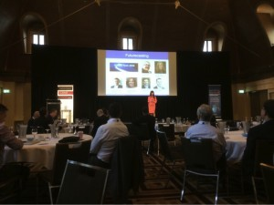 Shara Evans presenting Future Tech 2024 at the CommsDay 2014 Summit