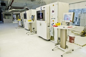 Wired: Industrial 3-D printers cranking away at the Shapeways factory in New York's Long Island City. Photo: Shapeways