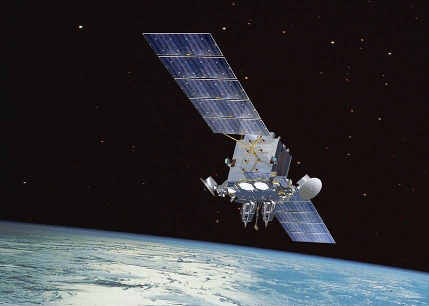 An Advanced Extremely High Frequency communications satellite relays secure communications for the United States and other allied countries