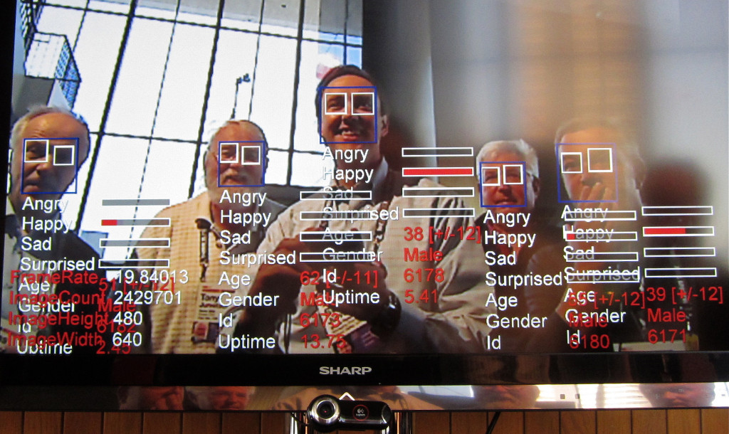 Image: Steve Jurvetson, Fraunhofer Face Finder - As we walk by the camera, the TV tracks the faces and displays analysis in real-time