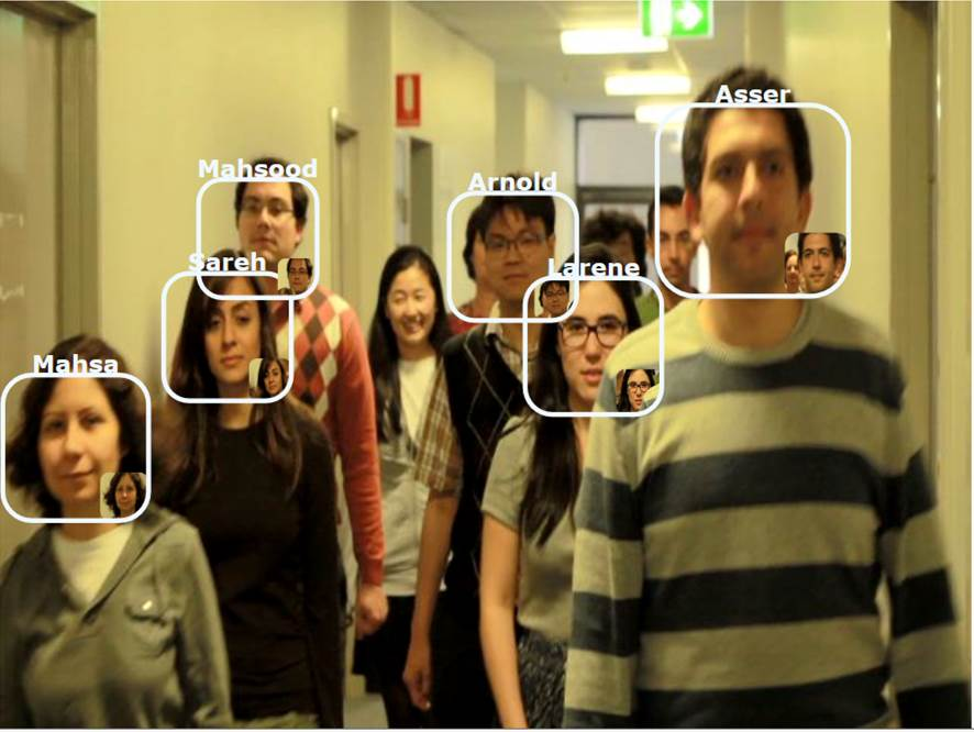 Face in the Crowd Recognition (Crowd walking towards camera in corridor)